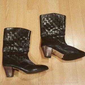 Frye leather basket weave boots vintage